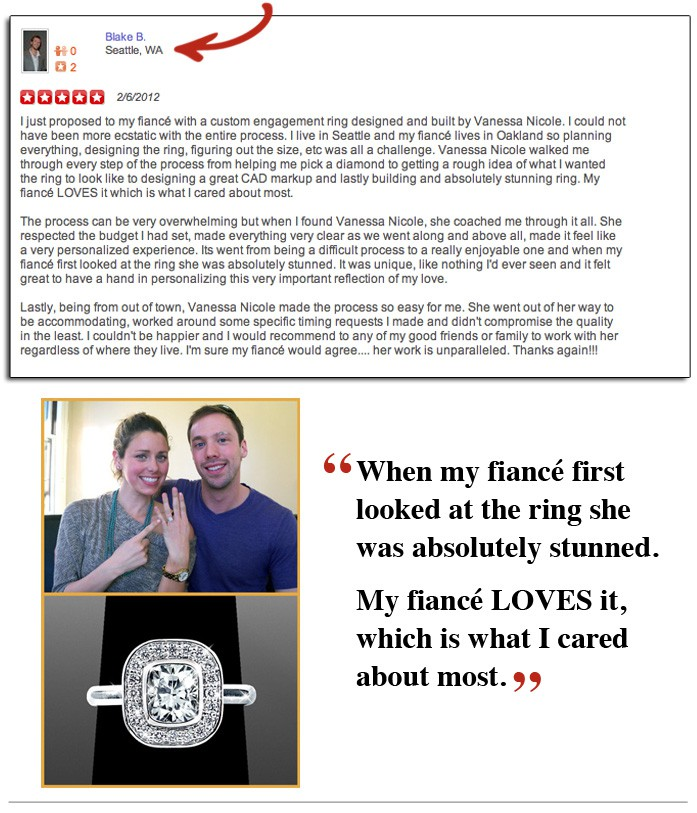 Blake's Yelp Review - Vanessa Nicole Jewels - Engagement Rings