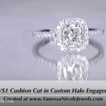 1ct Cushion Halo Engagement Ring for Savannah & Carl