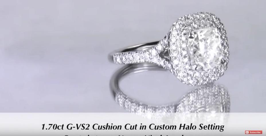 1.70 Cushion Cut Double Halo Engagement Ring for Stephanie & Brandon